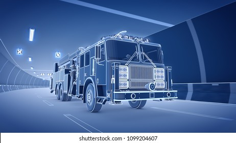 Fire Truck rides trough tunnel 3d rendering