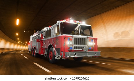 Fire Truck rides trough tunnel with warm yellow light 3d rendering