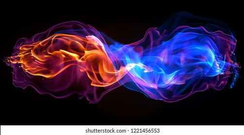 Fire - a wave of colored plasma fire elements consisting of a hot red-orange flame on a black background - a magical colored background for poster design