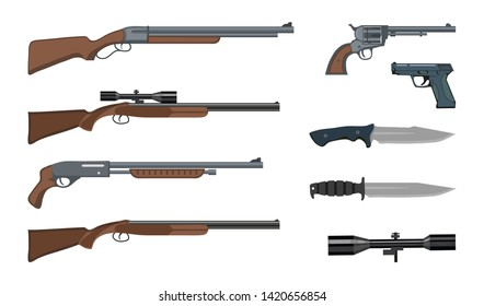 Firearms and ammunition. Military weapon. Army handgun and revolver gun. Various kind of rifle.