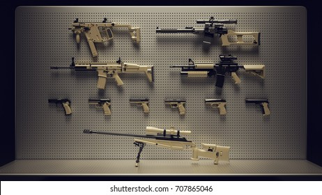 Firearms Display / 3d Illustration / 3d Rendering