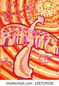 Firebird. Painted painting. Gouache