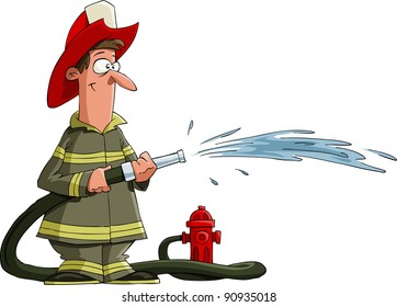 Firefighter pours from a fire hose, raster