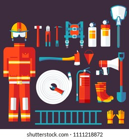 firefighter uniform and first help equipment and instruments. On flat style background concept.