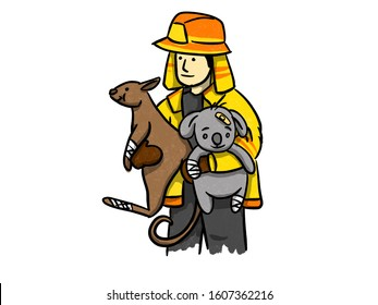 The firefighters rescue a koala and kangaroo injury from bushfires, Pray for Australia poster concept.