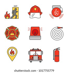 Firefighting color icons set. Emergency exit, hard hat, alarm bell, fireman siren, fire location, extinguisher, firetruck, firefighter's badge, hose. Isolated raster illustration