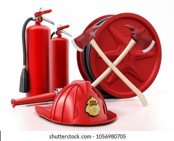 Fireman hat, hose, extinguishers isolated on white background 3D illustration