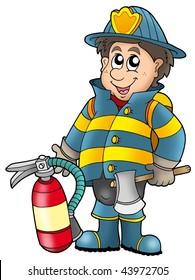 Fireman holding fire extinguisher - color illustration.