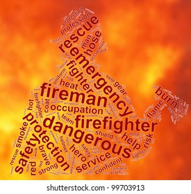 fireman info text graphic and arrangement concept on fire background