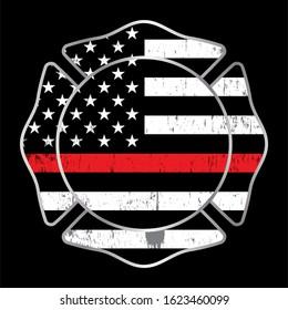 A fireman thin red line badge emblem illustration.