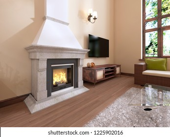 The fireplace in the interior is modern English style. 3D rendering