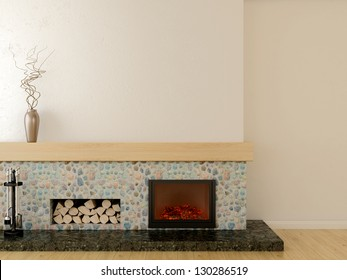 Fireplace in modern style, located on a marble pedestal, lined with stone and wooden mantel