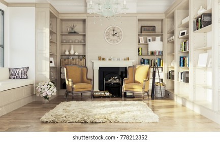 Fireplace room. Two armchairs near the fireplace. A cozy library with a fireplace. 3d illustration