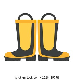 Fireproof boots. Firefighter equipment and clothing, tools, accessories. Flat cartoon illustration. Objects isolated on a white background.