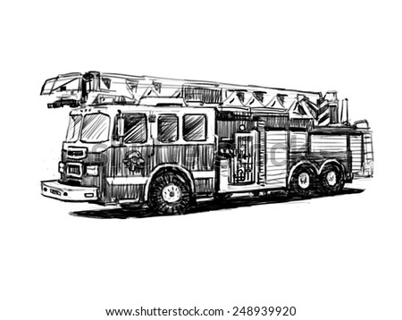 firetruck drawing on white background stock illustration 248939920