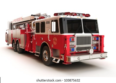 Firetruck on a white background, part of a first responder series,lighted night version also available