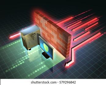 Firewall creates a safe zone for a workstation. 3D illustration.