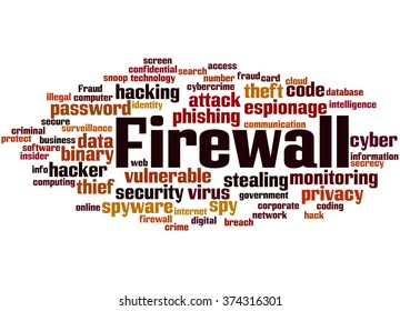 Firewall, word cloud concept on white background.