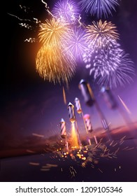 Firework rockets flying into the air and bursting into gold orange and purple breaks lighting up the night sky. Celebration display background. 3D illustration