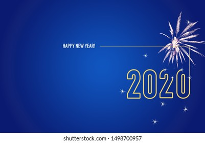 Firework show on grey night sky background. New year concept. Congratulations or invitation card background. Vector illustration