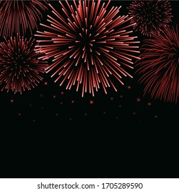 Firework sparkle background card. Beautiful bright fireworks isolated on black background. Light red decoration fireworks for Christmas card, New Year celebration illustration