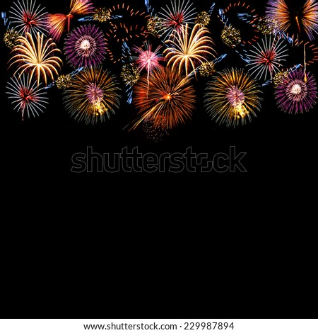 fireworks different shaps covering top part stock illustration