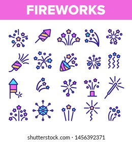 Fireworks, Firecrackers Thin Line Icons Set. Pyrotechnics, Fireworks Linear Illustrations. New Year, Birthday, Anniversary Party Firecrackers, Rockets Contour Symbols. Isolated Outline Cliparts