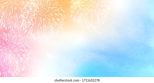 Fireworks summer watercolor sky background