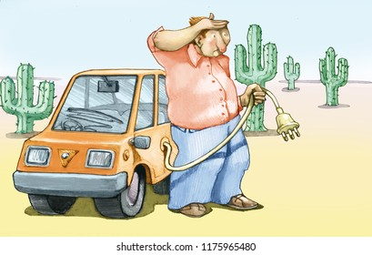firm electric auto in the autist desert looks far looking for a taking to reload the battery humorous illustration