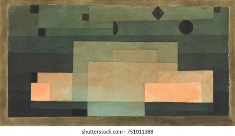 THE FIRMAMENT ABOVE THE TEMPLE, by Paul Klee, 1922, Swiss watercolor and gouache painting on paper. Flat rectangles of gradated green and orange tones create an illusion of light and darks, and foregr