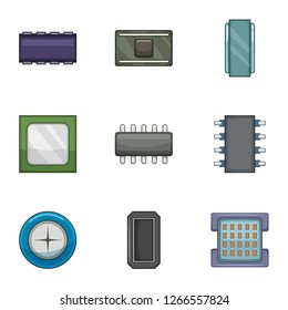 Firmware of the chip icons set. Cartoon set of 9 firmware of the chip icons for web isolated on white background