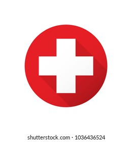 Firs aid medical white cross in red circle