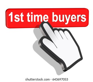 first 1st  time buyers mouse pointer like hand- 3d rendering