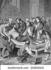 First administration of ether to a patient, Gilbert Abbott, about to undergo surgery for a tumor in the neck at Massachusetts General Hospital on October 16, 1846.