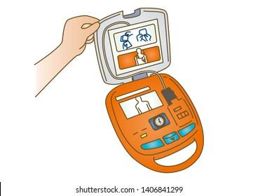 First aid AED Resuscitation medical illustration