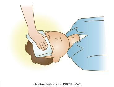 First aid Head hurt Hemostasis medical illustration