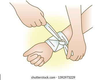 First aid Hemostasis bandage medical illustration