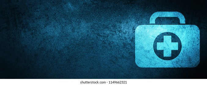 First aid kit bag icon isolated on special blue banner background abstract illustration