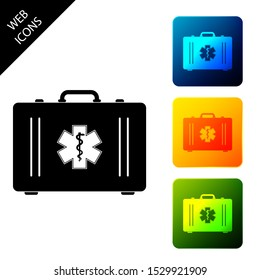 First aid kit and Medical symbol of the Emergency - Star of Life. Medical box with cross. Medical equipment for emergency. Healthcare concept. Set icons colorful square buttons