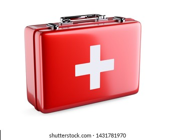First aid kit red case isolated on white background. 3d rendering illustration
