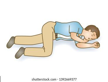 First aid Lie unconscious senseless sudden illness illustration