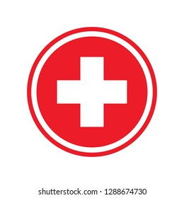 First aid. Medical cross icon. Medicinal and pharmacy sign.