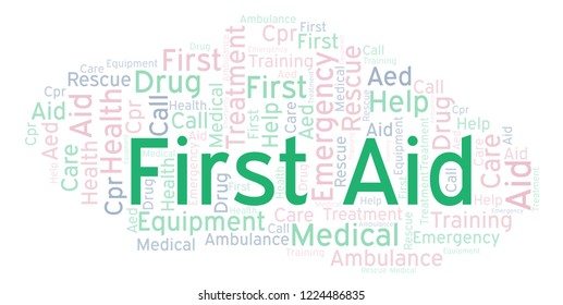 First Aid word cloud, made with text only.