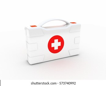 First aids. Medical Kit on white isolated background. 3d illustration