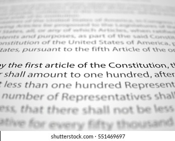 The first amendment papers with depth of field effect.