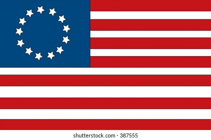 First American flag made by Betsy Ross. Has the 13 colonies.
