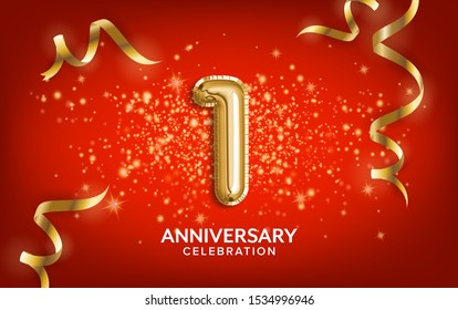 First Anniversary celebration. Anniversary Celebrating text balloons with golden serpentine and confetti on red background. Birthday or wedding party event decoration. Illustration stock
