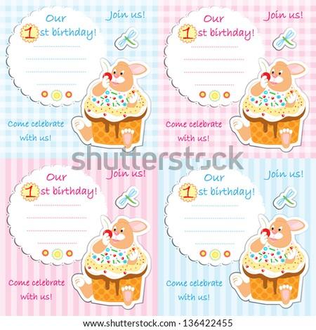 First Birthday Invitation Card Set Plaid Stock Illustration