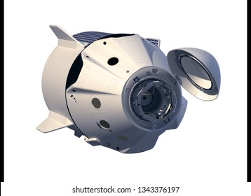 First Commercial Crew Spaceship Isolated On White Background. 3D Illustration.