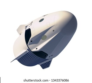 First Commercial Spacecraft Isolated On White Background. 3D Illustration.